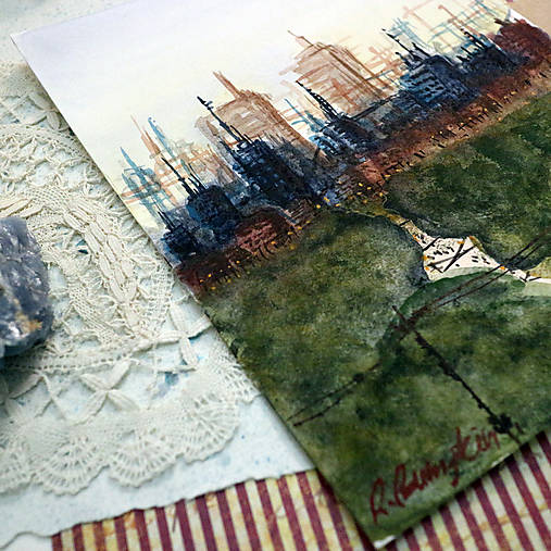Cesta parkom/ akvarelový originál by Richie Bumpkin