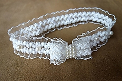 Bielizeň/Plavky - perličkový svadobný podväzok Ivory - 13030123_