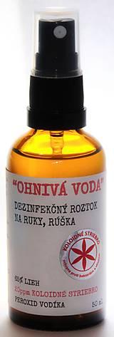 """Drogéria - """"OHNIVÁ VODA"""" Dezinfekčný roztok na ruky, rúška a povrchy, 50 ml - 13031521_"""