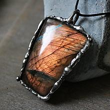 Náhrdelníky - Brána (výrazný cínový šperk sa labradoritom) - 13031360_