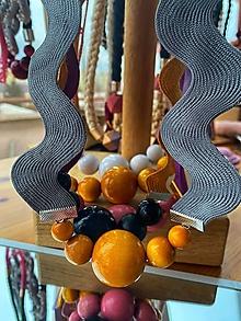 Náhrdelníky - Šedé vlnky a žluté korálky - 13032402_