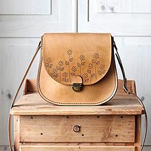Kabelky - Kožená retro kabelka *Maple Flowers* - 13029742_