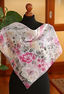 Šatky - Hodvábna kvetinová + GRÁTIS darčekové balenie... - 13030184_