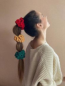 Ozdoby do vlasov - scrunchie (mäkkulinká gumička do vlasov) kolekcia semafór - 13030394_