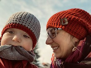 Čiapky - Zimná čiapka set Mama a jej Dieťatko - VMerine - 13033272_