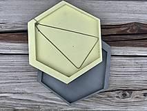 Nádoby - Betónový podnos GeoPlateaU - citrónový - 13030725_