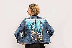 Kabáty - Maľovaná dámska riflová bunda s abstraktnou krajinou - 13031265_