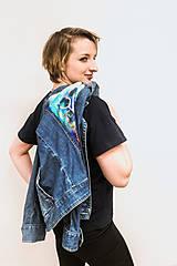 Kabáty - Maľovaná dámska riflová bunda s abstraktnou krajinou - 13031266_