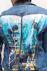 Kabáty - Maľovaná dámska riflová bunda s abstraktnou krajinou - 13031277_