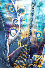 Kabáty - Maľovaná dámska riflová bunda s abstraktnou krajinou - 13031282_
