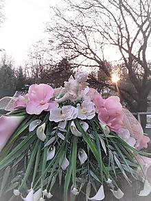 Dekorácie - dekorácia na dušičky s anjelikom, s kalami, s orchideou - 13036588_