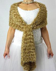 Šály - Tajemství zlatonky   třpytivý zlatý šál - 13034987_