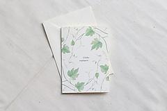 Papiernictvo - Narodeninová pohľadnica   ilustrácia Vinnej révi - 13038295_