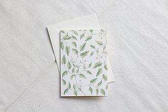 Papiernictvo - Akvarelová pohľadnica | zelená ilustrácia rastliniek - 13038211_