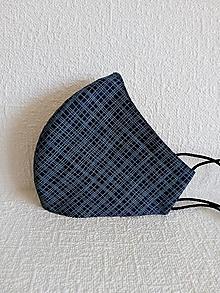Rúška - Dvojvrstvové rúško tvarované pánske - modré odľahčené - 13036239_