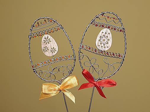 Dekorácie - Zápichy - vajíčka s drevenou ozdobou - 13038565_