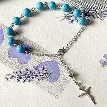Náramky - Tyrkenite Silver AG925 Rosary Bracelet / Strieborný ruženec na ruku alebo do auta s tyrkenitom - 13040763_