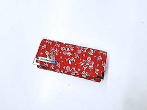 Peňaženky - Peňaženka červené ľudové kvietky a vtáčiky - 13041901_
