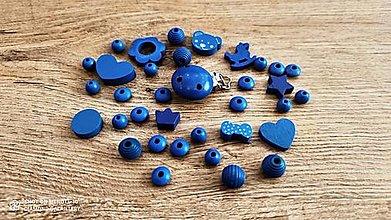 Korálky - Kreatívny mix - klip + korálky (Modrá) - 13041138_