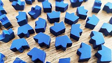 Korálky - Drevená korálka Korunka  (Modrá) - 13041258_