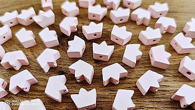Korálky - Drevená korálka Korunka  (Ružová) - 13041261_