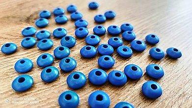 Korálky - Drevená korálka krúžok - 12x6 mm  (Modrá) - 13041293_