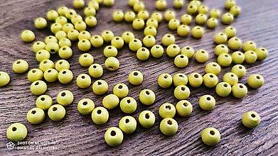 Korálky - Drevené korálky 8 mm (Žltá) - 13042183_