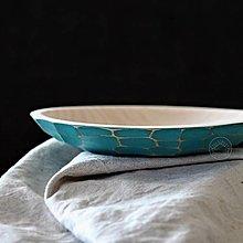 Nádoby - Drevená lipová miska tyrkysová zdobená (malá) - 13041218_