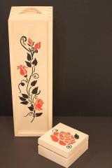 Krabičky - Svadobný darček - borovicová krabička na víno RUŽE - 13040948_