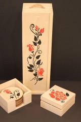 Krabičky - Svadobný darček - borovicová krabička na víno RUŽE - 13040949_