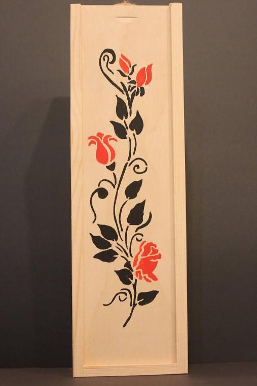 Svadobný darček - borovicová krabička na víno RUŽE