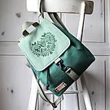 Batohy - Ľanový midi batôžtek I❤️ FOLK *smaragdovo-zelený* - 13039653_
