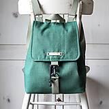 Batohy - Ľanový midi batôžtek *smaragdový* - 13039733_