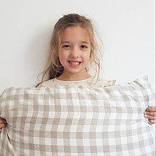 Textil - 100 % ľan predpraný, mäkčený prémiový európsky ľan - cena za 0,5m (károvaná prírodná piesková) - 13039194_