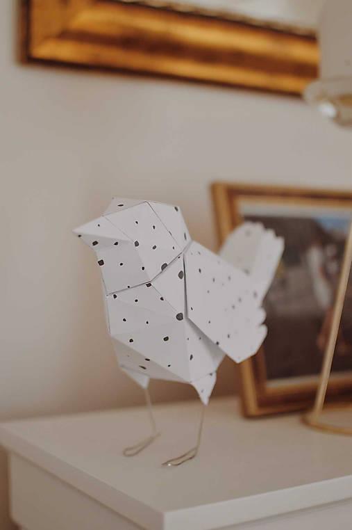 Dekorácie - papierové vtáča - 13039584_