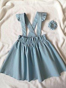 Detské oblečenie - Dievčenská ľanová sukňa na traky - 13043143_