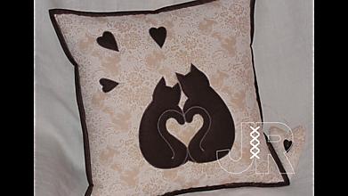 Úžitkový textil - mačičky - láska - 13042613_