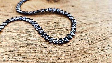 Korálky - Hematitové srdiečka 6 x 6 mm (Čierna) - 13043870_