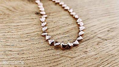 Korálky - Hematitové srdiečka 6 mm - bočný prevlek -ružové zlato - 13043948_