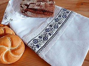 Úžitkový textil - Ľanové vrecko na chlieb modrotlač - 13044887_