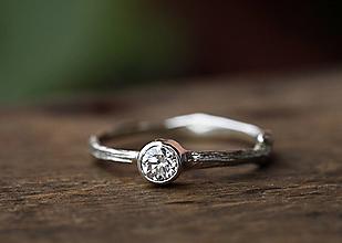 Prstene - ZÁKAZKA Vetvičkový zlatý s diamantom II - 13045030_