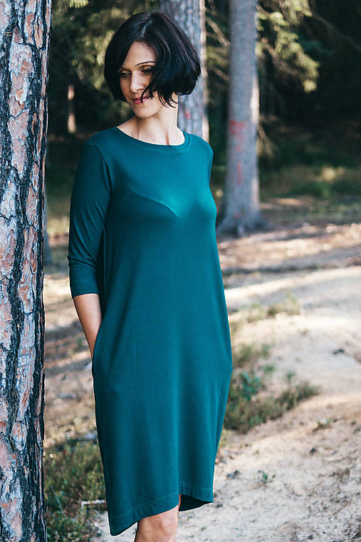 Šaty - Voľné šaty 3/4 rukáv bambusové zelené - 13043720_