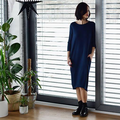 Šaty - Voľné šaty 3/4 rukáv bambusové teplákové tmavomodré - 13043740_