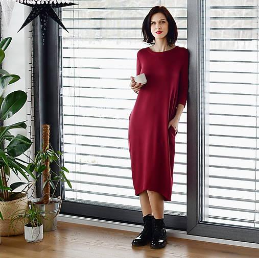Šaty - Voľné šaty 3/4 rukáv bambusové teplákové bordó - 13043778_