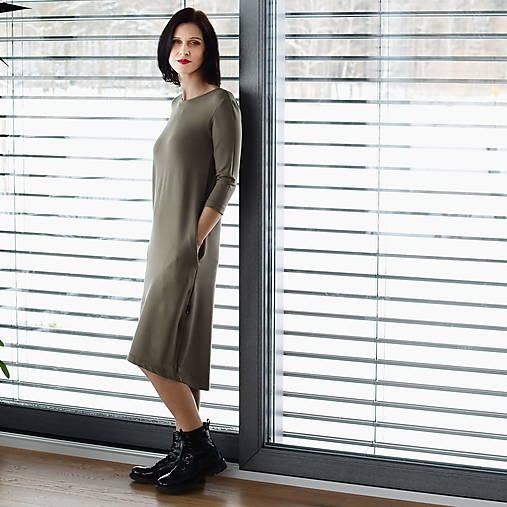 Šaty - Voľné šaty 3/4 rukáv bambusové teplákové khaki - 13043804_