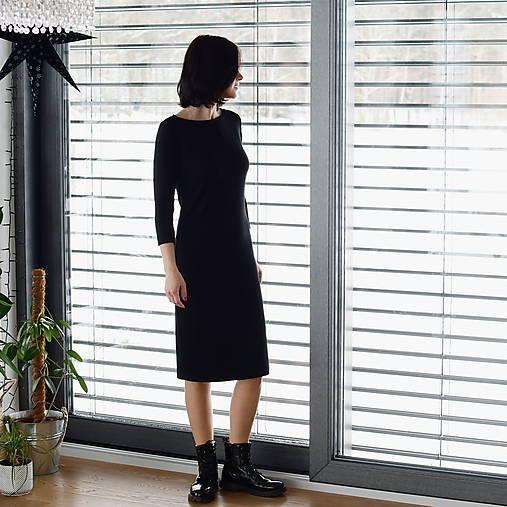 Šaty - Šaty s 3/4 rukávem bambusové teplákové čierné - 13043811_