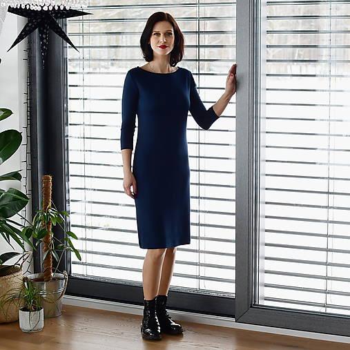 Šaty - Šaty s 3/4 rukávem bambusové teplákové tmavomodré - 13043822_