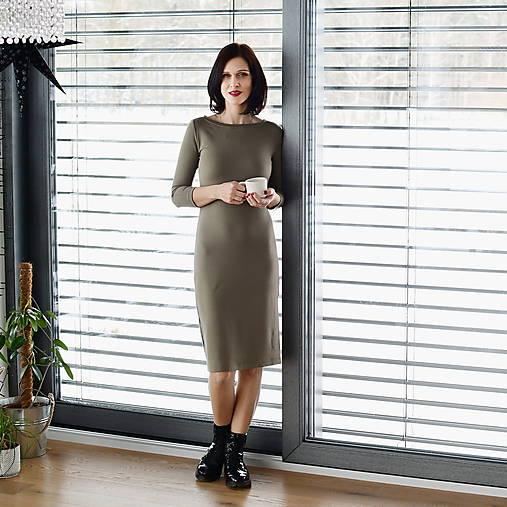 Šaty - Šaty s 3/4 rukávem bambusové teplákové khaki - 13043885_