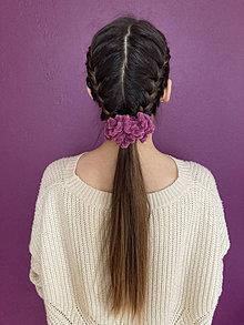 Ozdoby do vlasov - scrunchie (mäkkulinká gumička do vlasov) ružová kolekcia - 13046273_