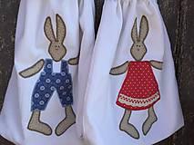 Úžitkový textil - vrecúška zajko + zajkuľka - 13046826_